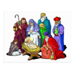Colourful Christmas Nativity Scene Postcard