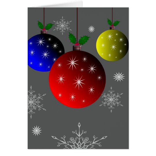 Colourful Christmas ornaments with snowflakes Card