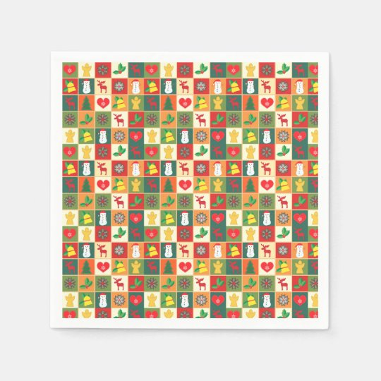 Colourful Christmas Pattern Paper Serviettes