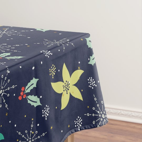 Colourful Christmas Snowflakes & Flowers Pattern Tablecloth
