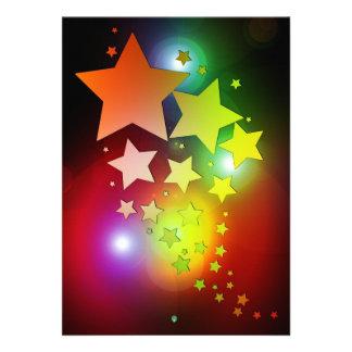 colourful Christmas stars lights Custom Invitations