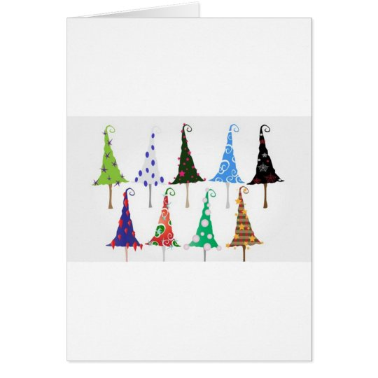 Colourful christmas trees design card