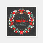 Colourful Christmas Wreath Dinner Party Invite Disposable Serviette