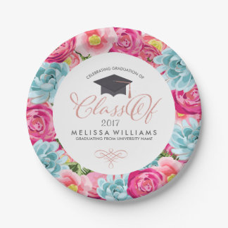 Colourful Circle Flowers Frame Class Of 2017 7 Inch Paper Plate