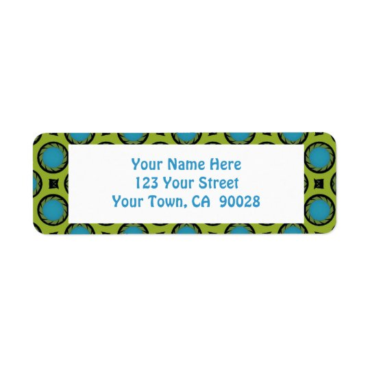 colourful circle pattern return address label