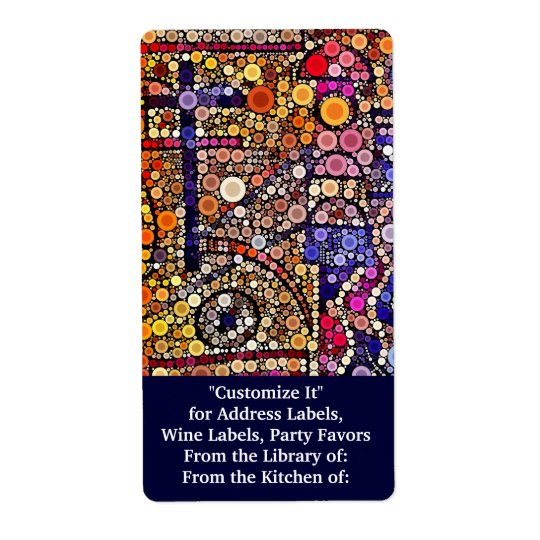 Colourful Circles Mosaic Southwestern Cross Design Shipping Label