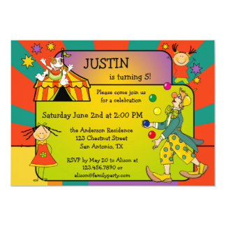 Colourful Circus Kids Birthday Party Invitation