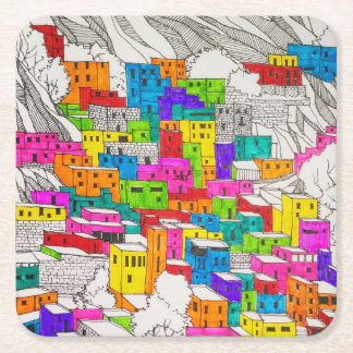 Colourful City Sketch Coaster
