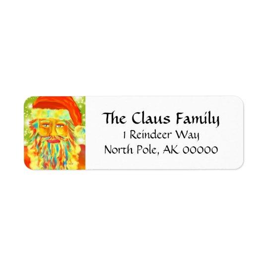"""Colourful Claus"" Santa Return Address Label"