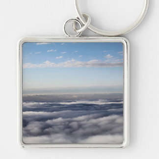 Colourful Clouds from an aeroplane Silver-Colored Square Keychain