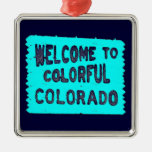 Colourful Colorado teal welcome sign