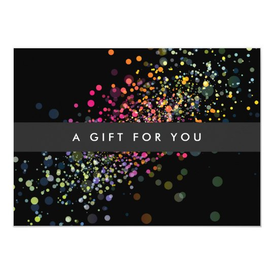 Colourful Confetti Bokeh on Black Gift Certificate Card