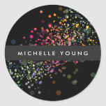 Colourful Confetti Bokeh on Black Modern Round Sticker