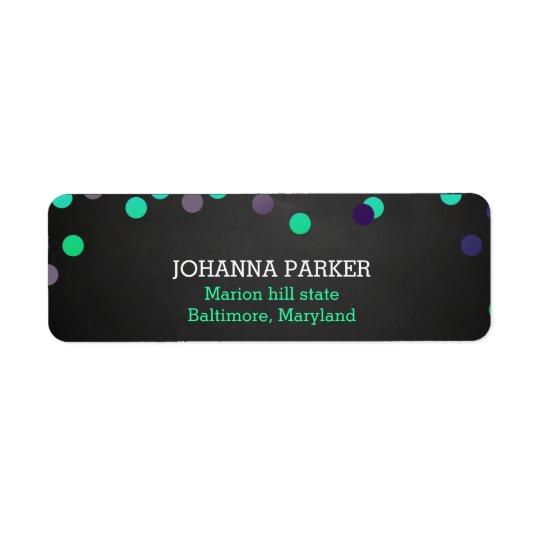 Colourful Confetti Polka Dots Rustic Chalkboard Return Address Label