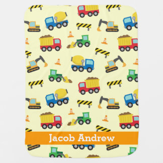 Colourful Construction Vehicles Pattern, Baby Boys Pramblankets