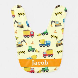 Colourful Construction Vehicles Pattern, Baby Boys Bib