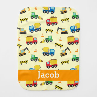 Colourful Construction Vehicles Pattern, Baby Boys Burp Cloth