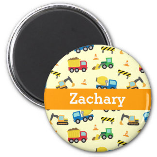 Colourful Construction Vehicles Pattern for Boys 6 Cm Round Magnet