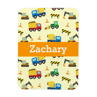 Colourful Construction Vehicles Pattern for Boys Rectangular Photo Magnet