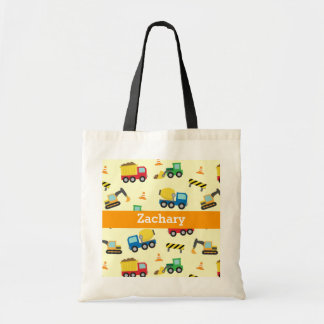 Colourful Construction Vehicles Pattern for Boys Tote Bag