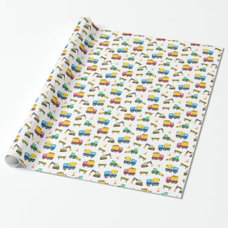 Colourful Construction Vehicles Pattern for Boys Wrapping Paper