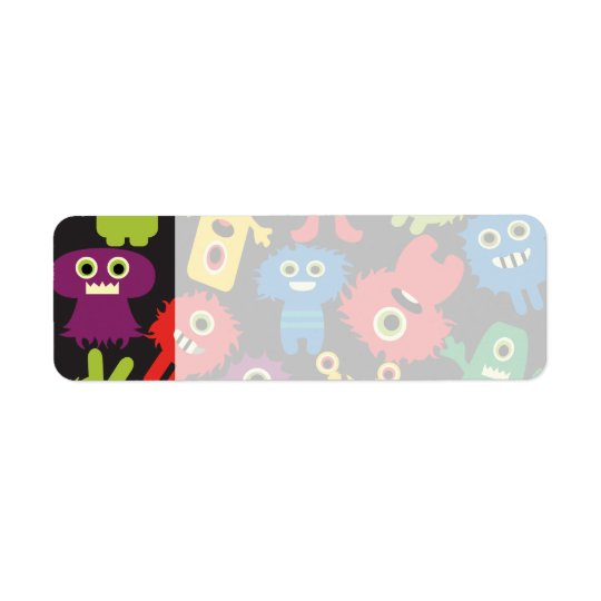 Colourful Crazy Fun Monsters Creatures Pattern Return Address Label