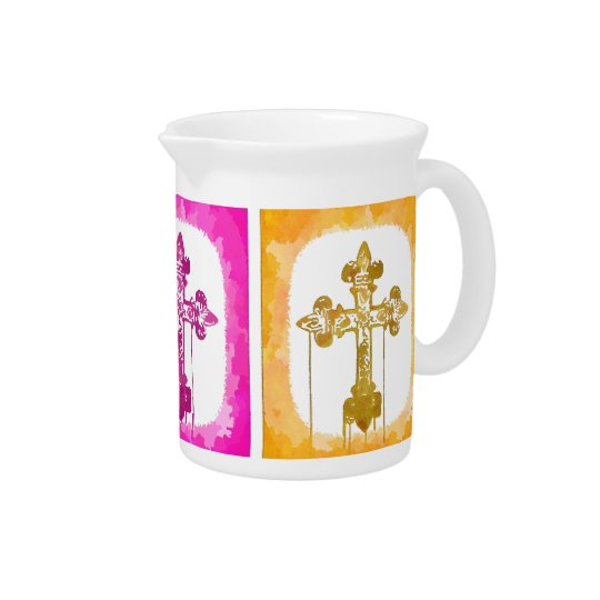 Colourful Crosses Christian Pop Art Drink Pitcher