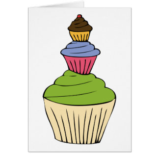 Colourful Cupcake Tower Party Invitation Greeting Card