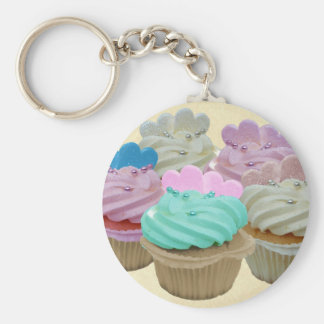 Colourful cupcakes and hearts key ring