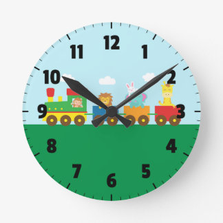 Colourful Cute Animals Train for Kids Bedroom Round Clock
