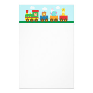 Colourful Cute Animals Train for Kids Custom Stationery