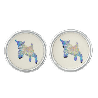 Colourful Cute Baby Goat Jumping Funny Animal Art Cufflinks