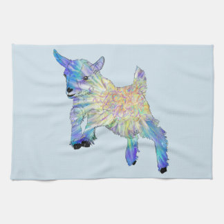 Colourful Cute Baby Goat Jumping Funny Animal Art Tea Towel