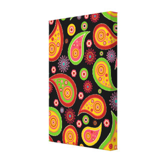 colourful cute paisley pattern fun background canvas print