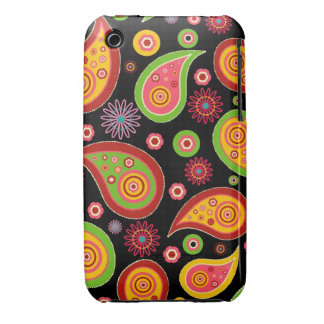 colourful cute paisley pattern fun background iPhone 3 cover