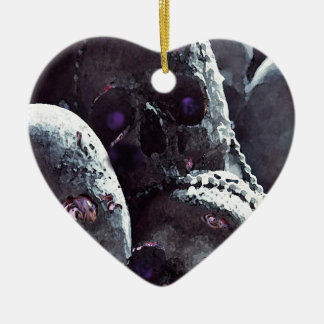 Colourful, cute, pink rose detail skull. ceramic heart decoration