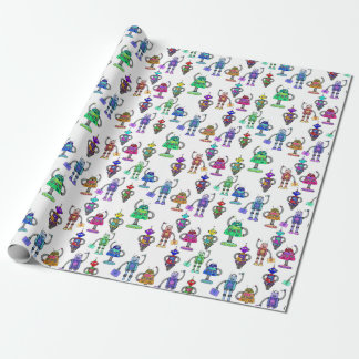 Colourful cute robots on white background wrapping paper