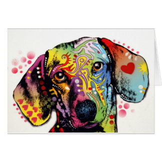 colourful Dachshund art Card