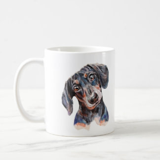 Colourful Dachshund puppy head art Coffee Mug