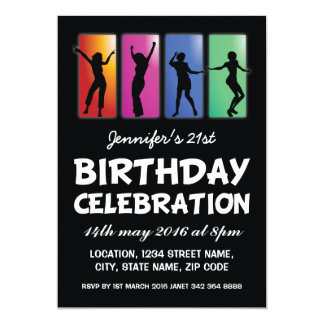 Colourful Dancing Adults Personalized Birthday 13 Cm X 18 Cm Invitation Card