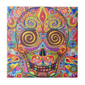 Colourful Day of the Dead Skull Ceramic Tile