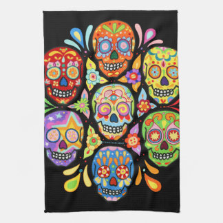 Colourful Day of the Dead Sugar Skull Kitchen Towe Towel