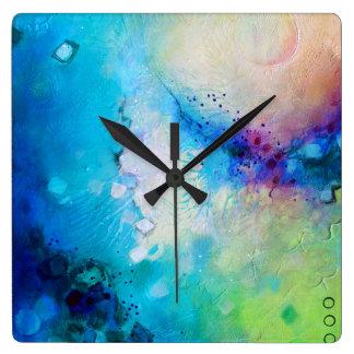 Colourful decorative square clock