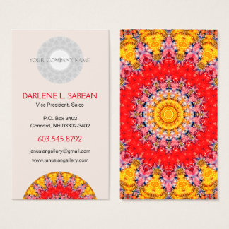 Colourful Detailed Red and Yellow Mandala Business Card