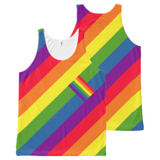 Colourful Diagonal Rainbow Flag Gay Pride All-Over Print Tank Top