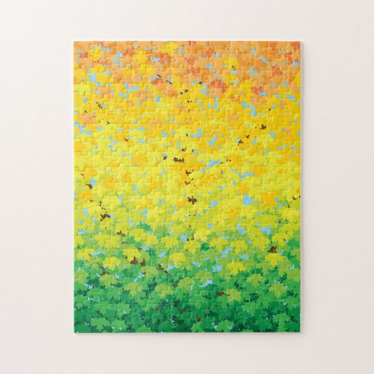 Colourful Difficult Autumn Ombre Maple Leaves Jigsaw Puzzle