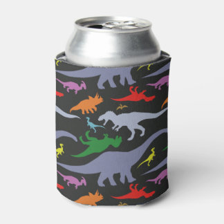 Colourful Dinosaur Pattern (Dark) Can Cooler