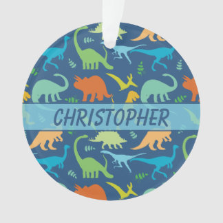 Colourful Dinosaur Pattern to Personalise Ornament