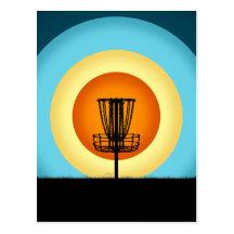 Colourful Disc Golf Basket Post Card
