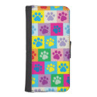 Colourful Dog Paws Patchwork Pattern iPhone SE/5/5s Wallet Case